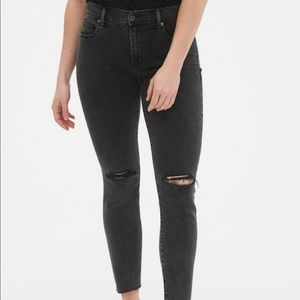 Gap Mid Rise True Skinny Ankle Jeans black washed